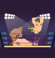 wrestlers fighting sport cartoon mortal vector image vector image