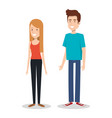 young couple teen character standing people vector image vector image
