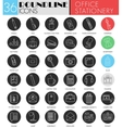 Office stationery circle white black icon vector image