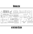 set of 25 items minimalism in interior design vector image