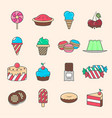 tasty sweet dessert icon set vector image