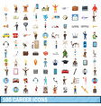 100 career icons set cartoon style vector image vector image