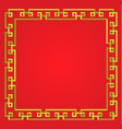 3d golden chinese frame on red background border vector image vector image