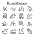 air pollution icon set in thin line style vector image vector image