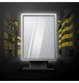 Blank white vertical billboard on night city scape vector image vector image