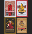 buddhism religion symbols and buddhist monks vector image vector image