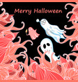 card with ghosts for halloween vector image