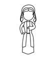 cartoon virgin mary manger christmas outline icon vector image vector image