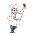chef holding a menu and glass of wine vector image
