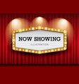 cinema theater curtains and sign light up design vector image vector image