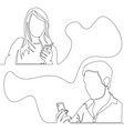 continuous one line concept man and woman chatting vector image vector image