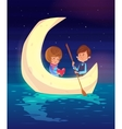 couple sitting in a boat on lake cute vector image