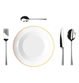 Cutlery and plates vector image