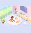 dog pet puppies girl playing at home isometric vector image vector image