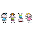 Doodle happy kids group isolated on white vector image vector image