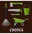 Gardening chores and tools flat icons vector image