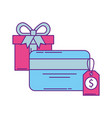 gift box present and credit card with label vector image