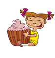 girl hugging cupcake vector image