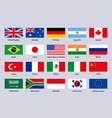 group twenty flags major advanced and emerging vector image