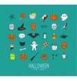 Halloween flat icons turquoise vector image vector image