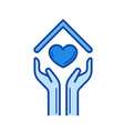 hands and house roof with heart line icon vector image