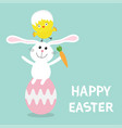 happy easter bunny chicken pyramid set rabbit vector image