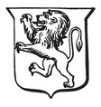 heraldry rampant have shield with a rearing lion vector image vector image