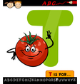 letter t with tomato cartoon vector image vector image