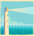 lighthouse vintage postervintage sea waves vector image vector image