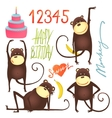 Monkey Fun Cartoon in Poses with Birthday vector image vector image