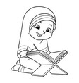 moslem girl reading quran bw vector image vector image