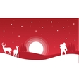 On red backgrounds Santa and reindeer landscape vector image vector image