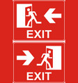 red exit sign emergency fire exit door and exit vector image vector image