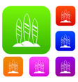 serfing board set collection vector image vector image