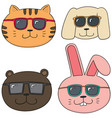 set of animal with sunglasses vector image