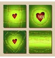Set of cards with green valentines day design vector image vector image