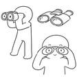 set of people using binoculars vector image