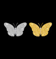 set of shining butterflies of gold and silver vector image vector image