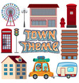 set of urban town element vector image