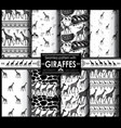 set seamless pattern with stylized giraffes vector image
