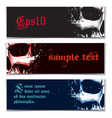 skull artistic splatter banners black red blue vector image vector image
