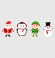 snowman santa claus elf penguin set happy new vector image vector image