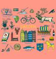 symbols sweden in vintage style retro sketch vector image