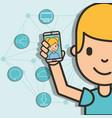 teen boy holding smartphone girl on screen vector image