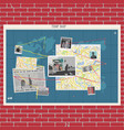 wall with crime map concept vector image vector image