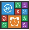 White clock icons set vector image vector image