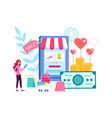 woman chooses gifts in the online store vector image vector image