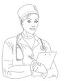 woman doctor a girl in a dressing gown and vector image vector image