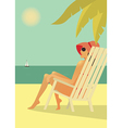 woman in chear on beach vector image vector image