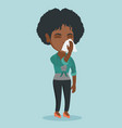 young african-american sick woman sneezing vector image vector image